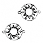 TQ metal charms round connector 27mm Antique silver