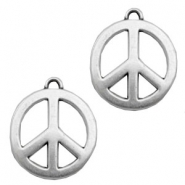 TQ metal charms peace sign 33m Antique silver