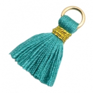 Tassels Ibiza style 1.8cm Gold-Dark Emerald Green