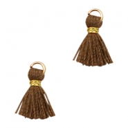 Tassels Ibiza style 1cm Gold-Chocolate Brown