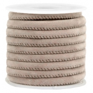 Trendy stitched velvet cord 6x4mm Taupe