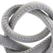 Trendy stitched cord silk style 6x4mm Grey