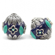 Bohemian beads 20mm Dark Blue-Silver Turquoise