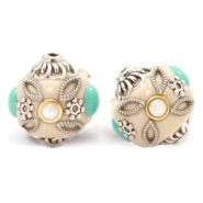 Bohemian beads 16mm Beige-Turquoise Silver