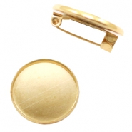 Findings metal brooch for cabochon 20 mm Gold