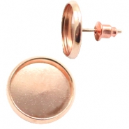 Findings metal earrings/studs for 12 mm cabochon Rose Gold