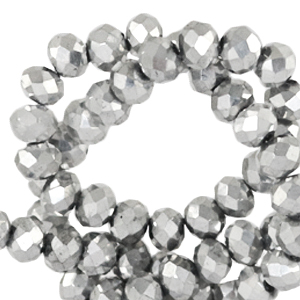 Top faceted beads 6x4mm disc Silver Metallic-Pearl Shine Coating