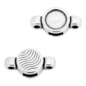 Round DQ metal settings/sliders 2 loops for SS34 flatback stone Antique silver (nickel free)
