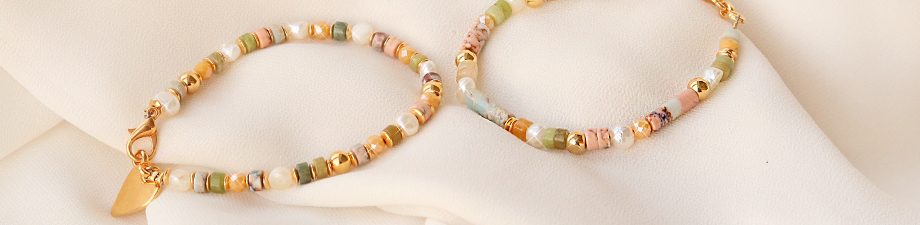 New: trendy natural stone beads discs + tubes